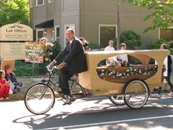 Wade Lind and his Bicycle Hearse with a Somerset Willow Coffin